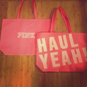 (2) PINK Victoria's Secret Haul Yeah Tote Bags